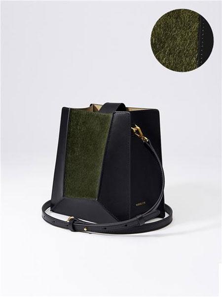 HIEMS COR国际品牌梯形立体感拼缝设计女士多用斜挎包_黑色
