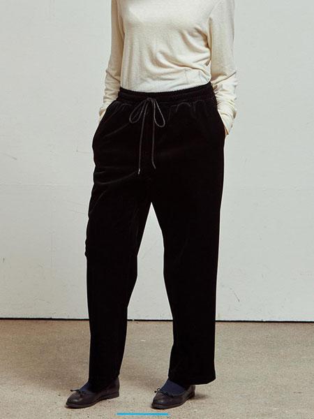 HOMFEM国际品牌品牌2020春夏宽松毛呢松紧腰绑绳男女同款直筒运动裤_炭灰色
