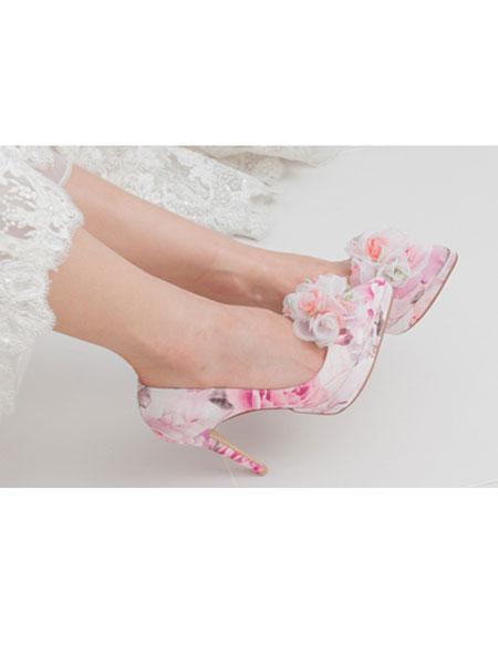 HONEYVITO国际品牌品牌2020春夏新款印花带花高跟鞋