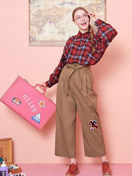 theclizy女装品牌2019秋冬新款格子长袖衬衫