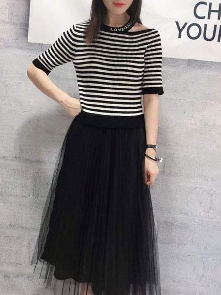 XI MEI 茜妹女装品牌2020春夏黑色透纱半身裙