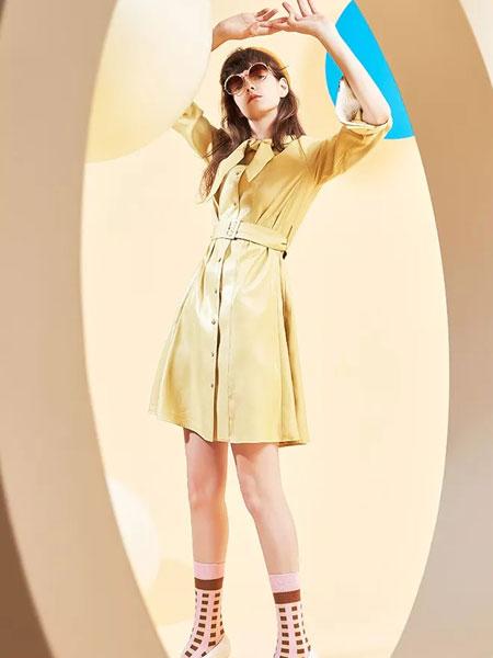茜舞女装品牌2020春夏新款纯色腰带连衣裙