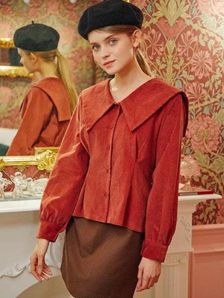 LETTER FROM MOON国际品牌品牌2019秋冬褶裥收腰女士长袖大翻领衬衫_砖红色