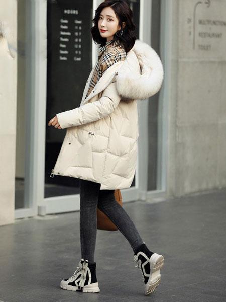 高梵女装品牌2019秋冬新款纯色大毛领带帽长款羽绒服 简洁百搭