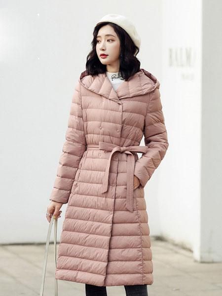高梵女装品牌2019秋冬新款带帽羽绒派克服 显气质百搭