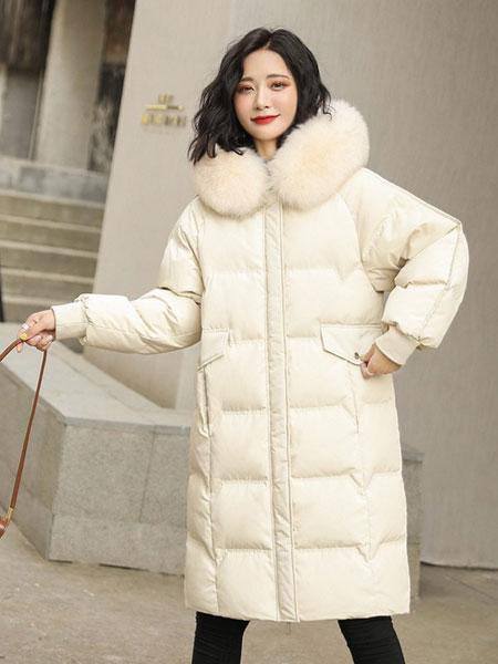 高梵女装品牌2019秋冬新款纯色大毛领长款羽绒服 简洁百搭