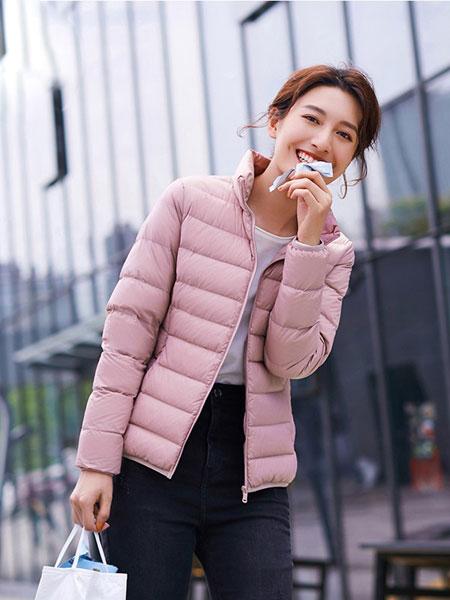 高梵女装品牌2019秋冬新款纯色短款羽绒服