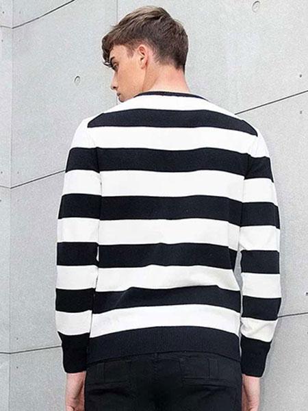UPD男装品牌2019秋冬新款黑白拼接色长袖上衣