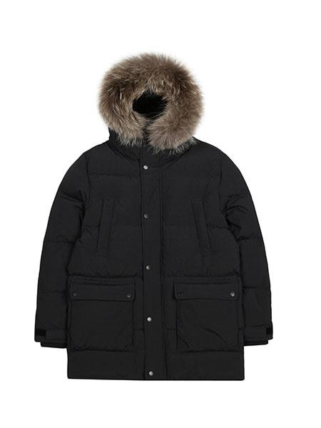 KANGOL国际品牌品牌2019秋冬新款小标带帽大毛领短款羽绒服