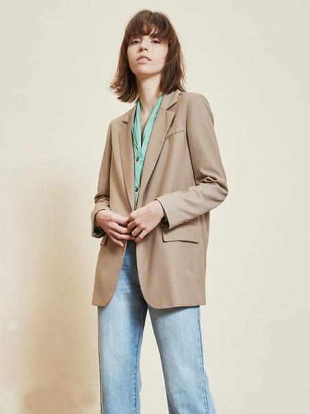 那汀女装品牌2020春夏新款丝绸西装外套