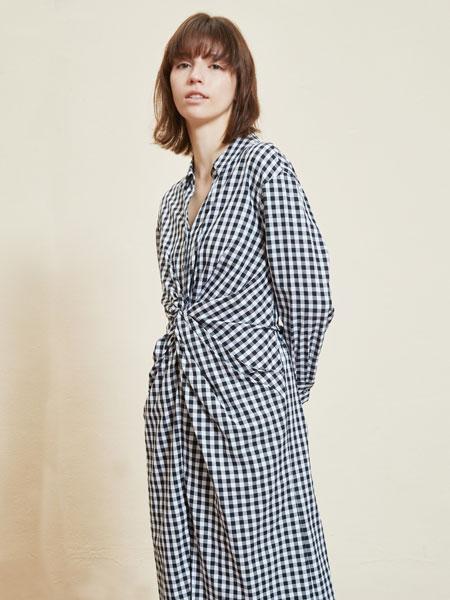 那汀女装品牌2020春夏新款格子长袖连衣裙