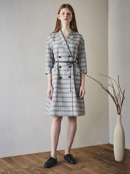 MAISON DE INES国际品牌品牌2020春夏亚麻格纹双排扣腰带连衣裙_灰色