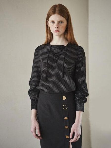 MAISON DE INES国际品牌品牌2020春夏金粉面料系带女士衬衫_黑色