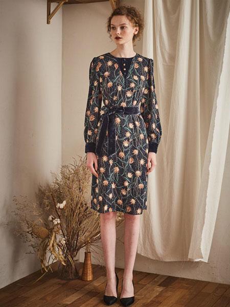 MAISON DE INES国际品牌品牌2020春夏中长款圆领绑带腰带丝绒长袖连衣裙_藏青色