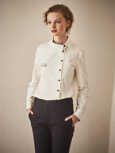 MAISON DE INES国际品牌品牌2020春夏不对称侧系扣刺绣点缀女士长袖衬衫_白色