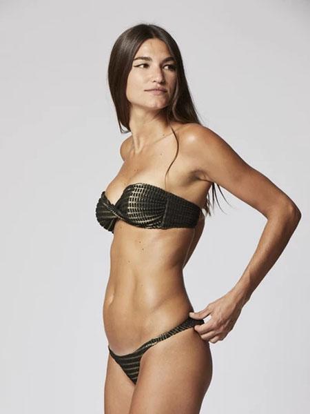 Lisa Marie Fernandez国际品牌2020春夏YASMIN金色/黑色LUREX比基尼