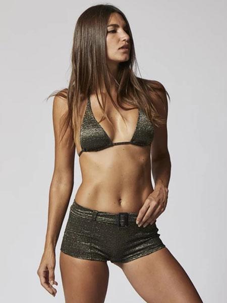 Lisa Marie Fernandez国际品牌2020春夏金色/黑色LUREX腰带热裤