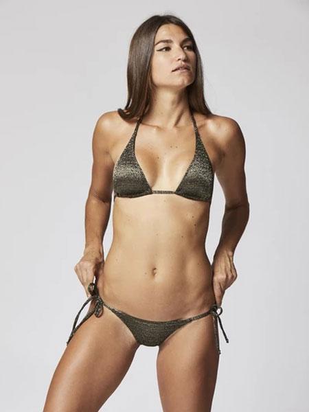 Lisa Marie Fernandez国际品牌品牌2020春夏帕梅拉(PAMELA)银/黑色LUREX比基尼