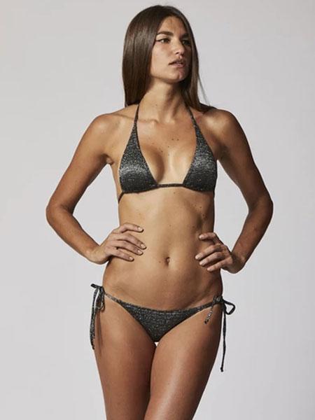 Lisa Marie Fernandez国际品牌品牌2020春夏PAMELA金色/黑色LUREX比基尼