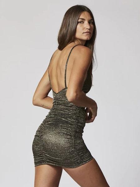 Lisa Marie Fernandez国际品牌品牌2020春夏RUCHED金色/黑色LUREX裙子