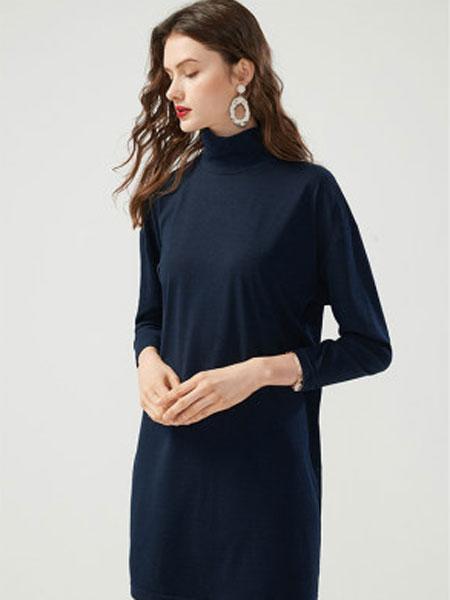 万丽女装品牌2020春夏高领打底衫中长款韩版宽松针织衫薄款
