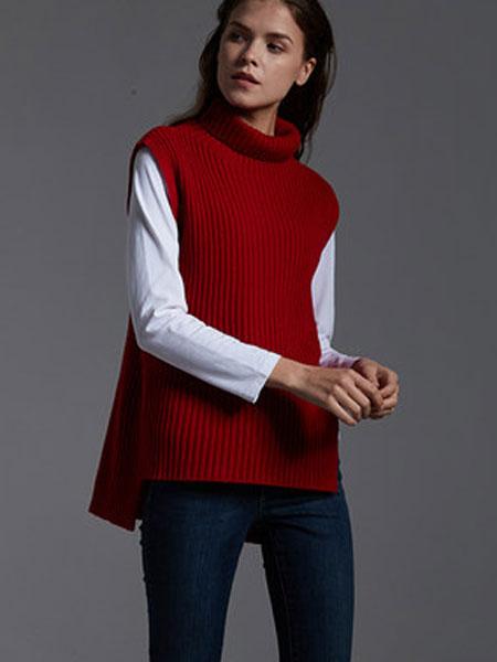 万丽女装品牌2020春夏红色高领无袖修身百搭针织衫