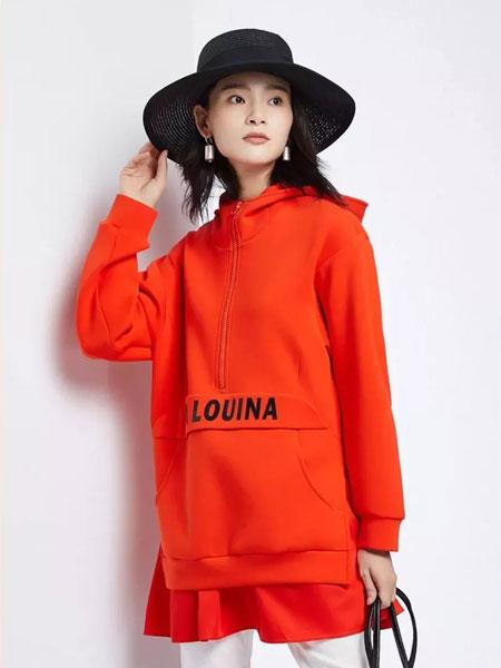 法路易娜女装品牌2020春夏新款红色印字卫衣裙