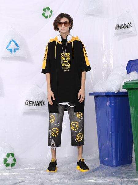 【2020春季新款】GENANX闪电潮牌牛仔裤男直筒宽松印花破洞八分裤