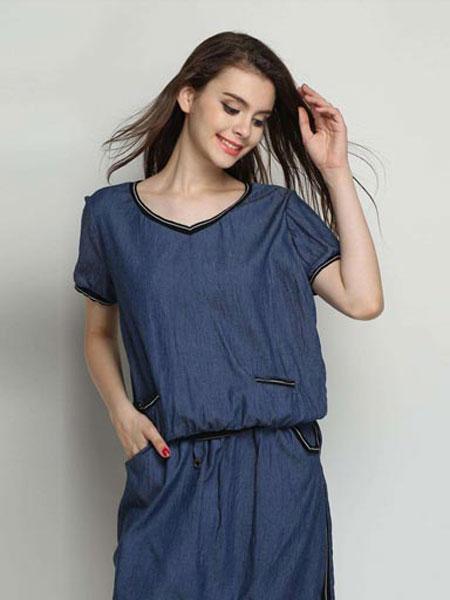 慕莱雅女装品牌2020春夏新款纯色简洁蓝色短袖上衣