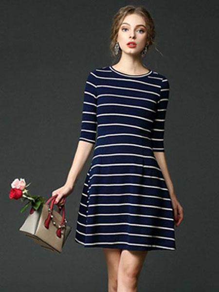 慕莱雅女装品牌2020春夏新款条纹中袖连衣裙