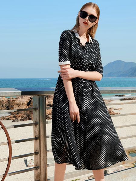 例格女装品牌2020春夏新款波点中袖连衣裙