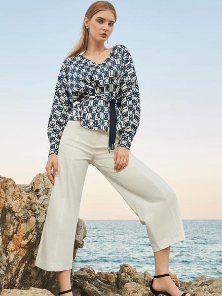 例格女装品牌2020春夏新款真丝长袖衬衫