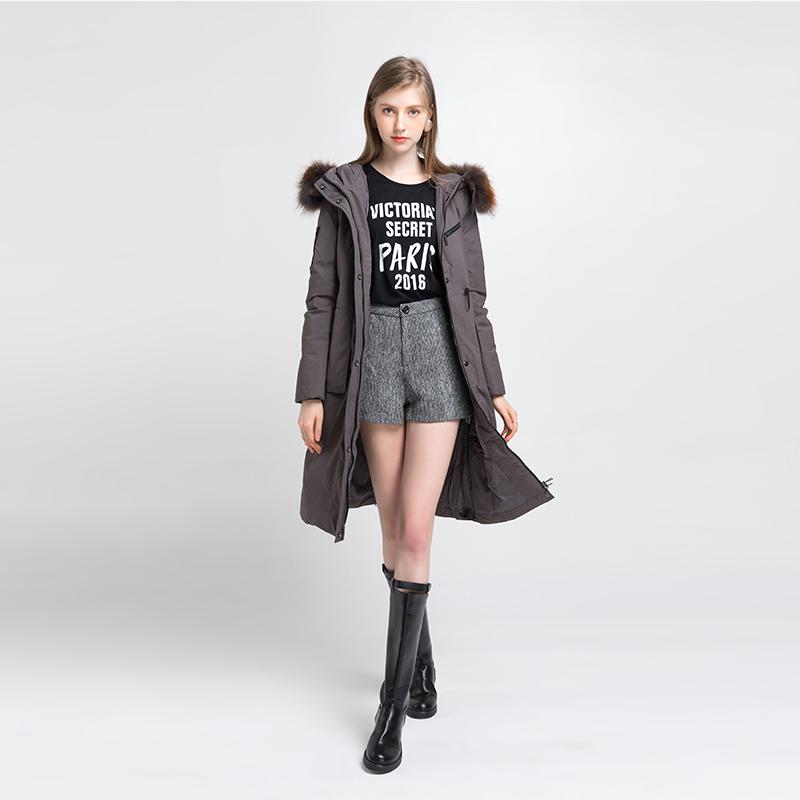 龙达飞LODFEY女装品牌2019秋冬新款大毛领羽绒大衣