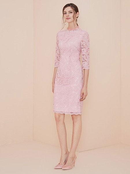 胜姿SZ女装品牌新款蕾丝纯色连衣裙