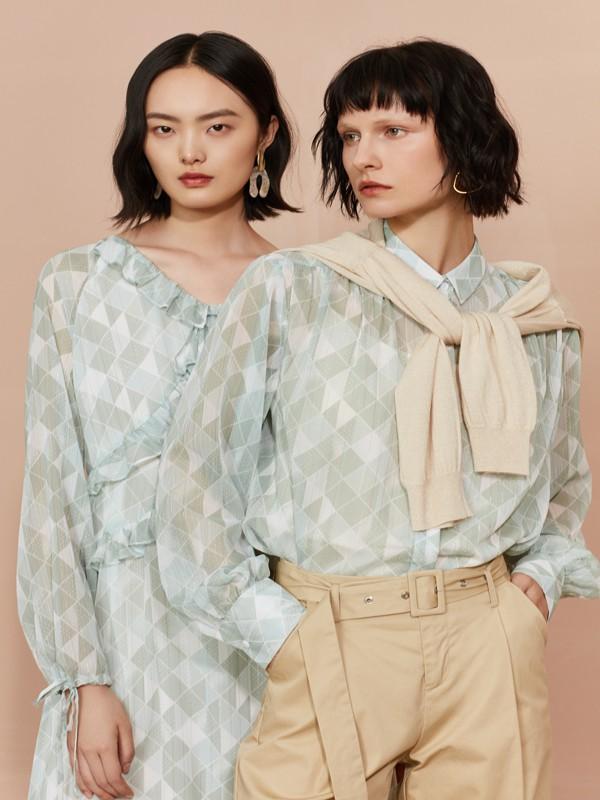 F.SHINE女装品牌2020春夏新款印花真丝衬衫