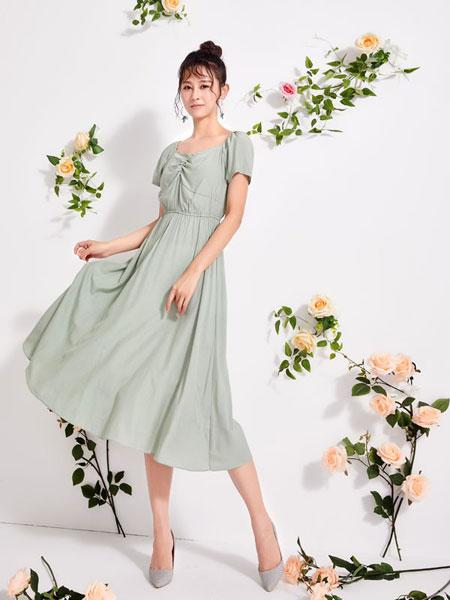 淑女日记女装品牌2020春夏新款纯色短袖简洁连衣裙