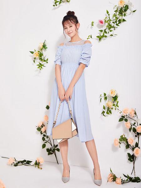 淑女日记女装品牌2020春夏新款缕空露肩连衣裙