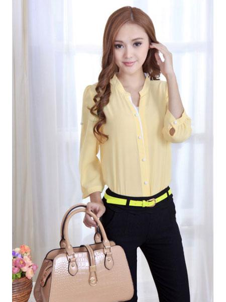 淑女日记女装品牌2020春夏新款真丝纯色衬衫