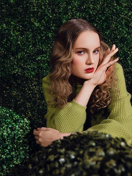 森林鸟女装品牌2019秋冬新款纯色针织长袖毛衣