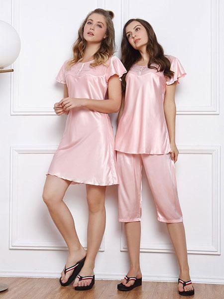 城市佳人内衣品牌2020春夏新款纯色真丝家居服