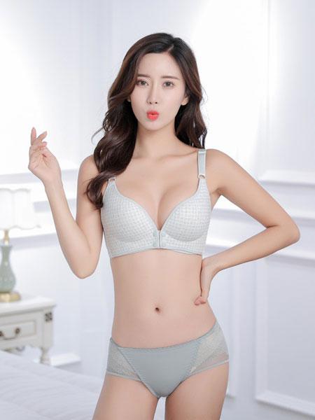 珍妮芬内衣品牌2020春夏新款纯色蕾丝花纹性感内衣 调整型内衣聚拢内衣文胸
