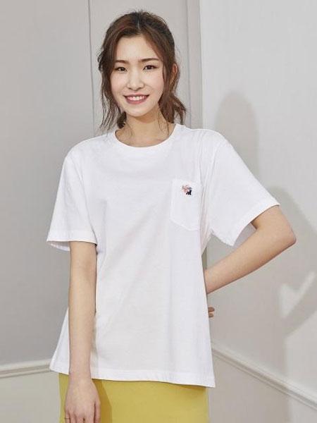 MARYMOND国际品牌2019秋冬宽松圆领纯色男女同款短袖T恤_白色