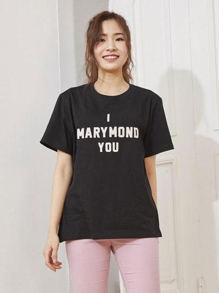 MARYMOND国际品牌2019秋冬宽松圆领字母图案男女同款短袖T恤_黑色
