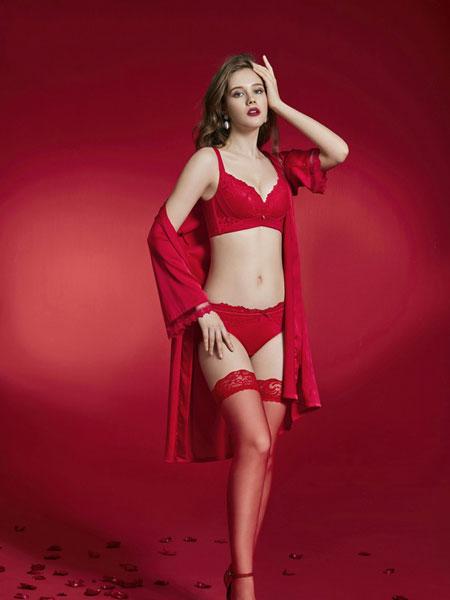 纤美内衣品牌2019年秋冬新款纯色蕾丝花纹内衣调整型内衣文胸聚拢内衣