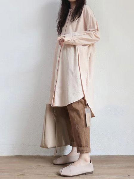 本色A8原创女装品牌2019秋冬新款纯色毛呢长款夹克