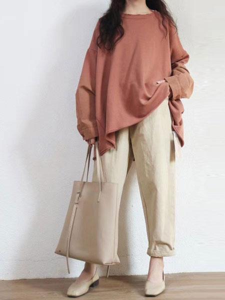 本色A8原创女装品牌2019秋冬新款纯色薄棉卫衣