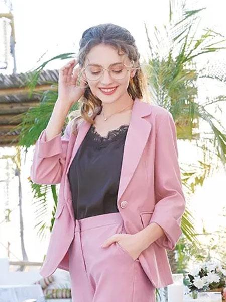 莉雅莉萨女装品牌2020春夏新款粉色简洁西装套装