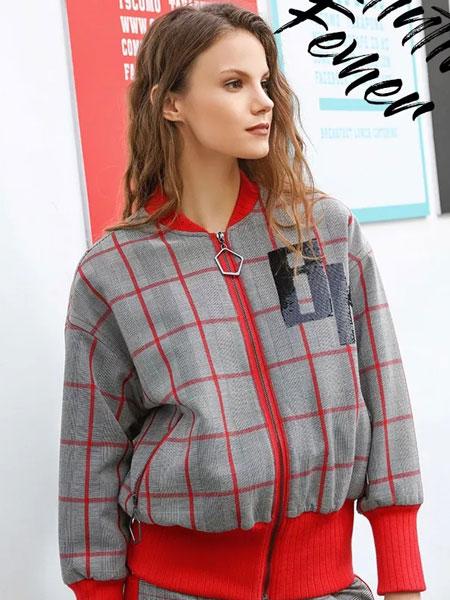蒂斯弗女装品牌2020秋冬新款格纹印字外套