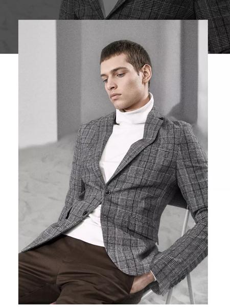 1943S男装品牌2019秋冬条纹西装外套