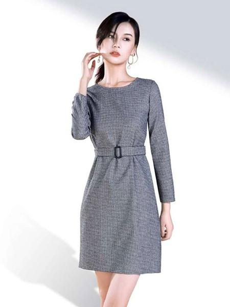 SENCELAND三石一澜女装品牌2019秋冬收腰修身连衣裙